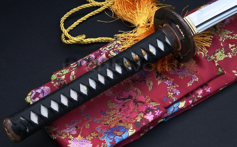 High Quality Japanese Clay Tempered Sanmai 1095 Carbon Steel+Folded Steel Samurai Sword