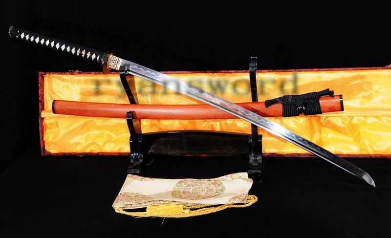 Handmade Carbon Steel Folded Steel Clay Tempered Honsanmai Japanese Samurai Sword Katana