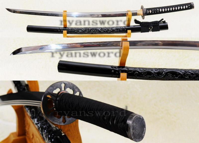 High Quality 1095 Carbon Steel Clay Tempered Japanese Samurai Maru Katana Sword