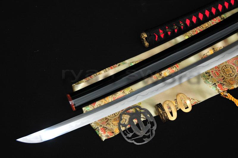 High Quality 1095 Carbon Steel+Folded Steel+Clay Tempered Japanese Samurai Katana Sword