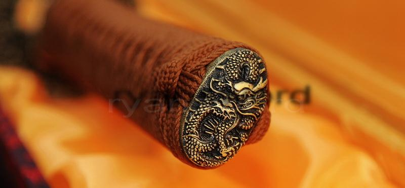 1095 Carbon Steel Clay Tempered Dragon Tsuba Japanese Samurai Sword Katana