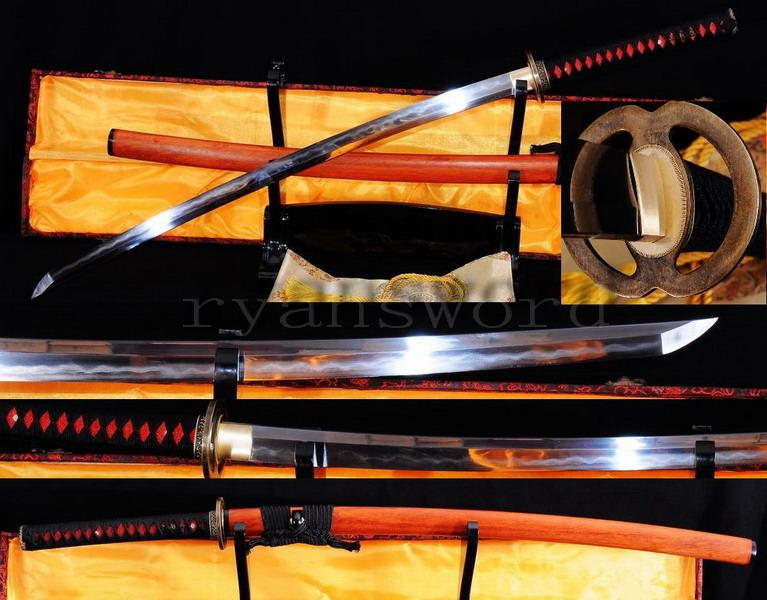 Handmade Carbon Steel Folded Steel Clay Tempered Japanese Honsanmai Samurai Sword Katana
