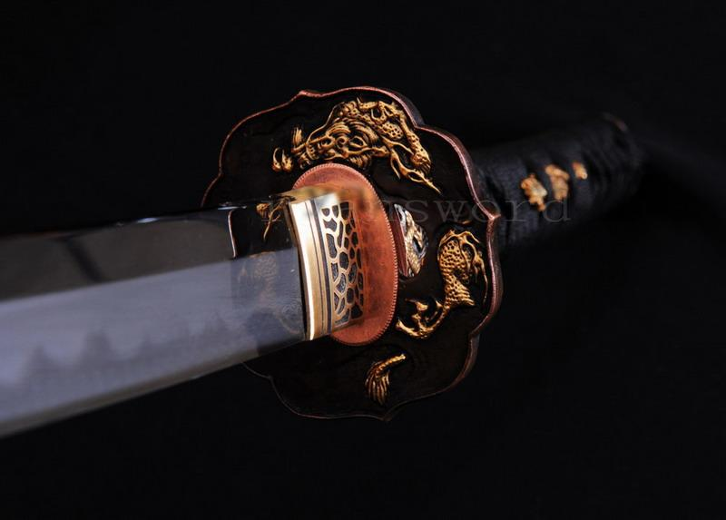High Quality Shihuzume Clay Tempered Abrasive Gragon Tsuba Japanese Samurai Katana Sword