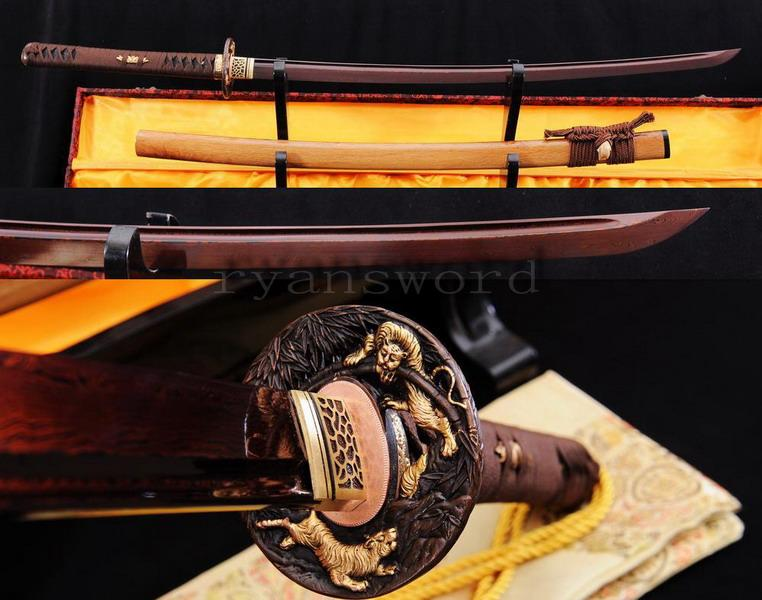 Handmade Red Damascus Folded Steel Japanese Samurai Sword Katana