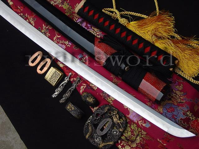 High Quality Clay Tempered+Abrasive 1095 Carbon Steel+Folded Steel+Iron Japanese Katana Sword