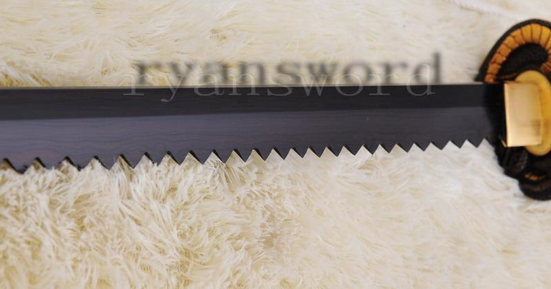 High Quality Black Folded Stee Japanese Samurai Sword Sawtooth Ninja