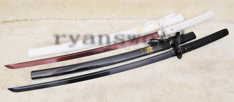 High Quality Red Black Folded Steel Japanese Samurai Sword Katana(Blackwhite Set)
