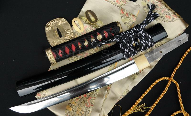 High Quality Clay Tempered 1095 Carbon Steel Black Japanese Samurai Tanto Sword