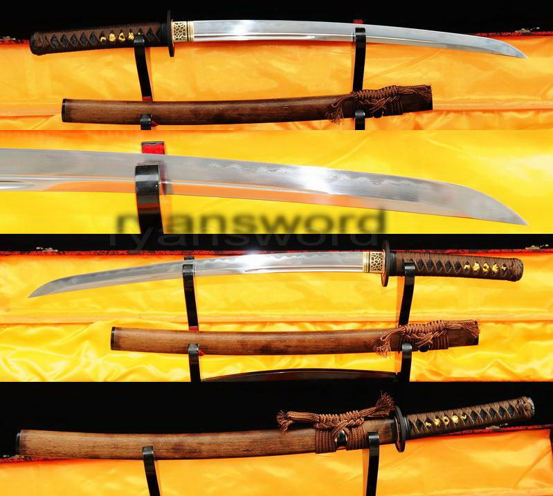 High Quality Clay Tempered 1095 Carbon Steel+Folded Steel+Clay Tempered Japanese Samurai Wakizashi Sword