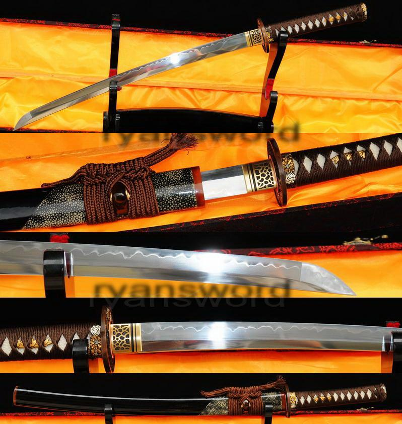 High Quality Clay Tempered 1095 Carbon Steel Ray Skin Saya Japanese Samurai Wakizashi Sword