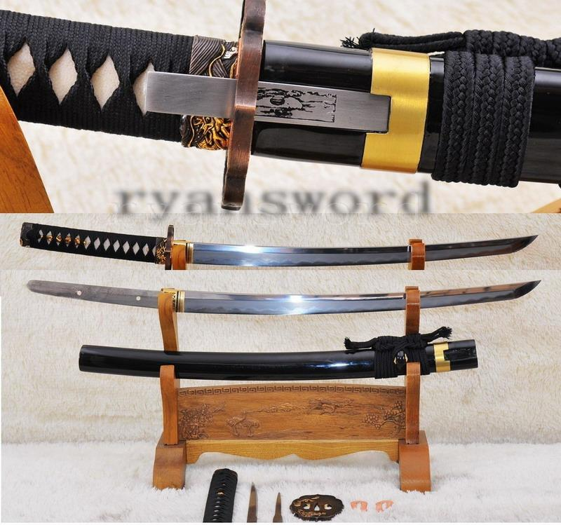 High Quality Shihozume Clay Tempered+Abrasive Japanese Samurai Sword Wakizashi