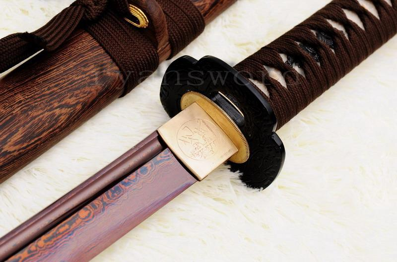 Hand Forged Red Folded Steel Japanese Samurai Wakizashi Sword